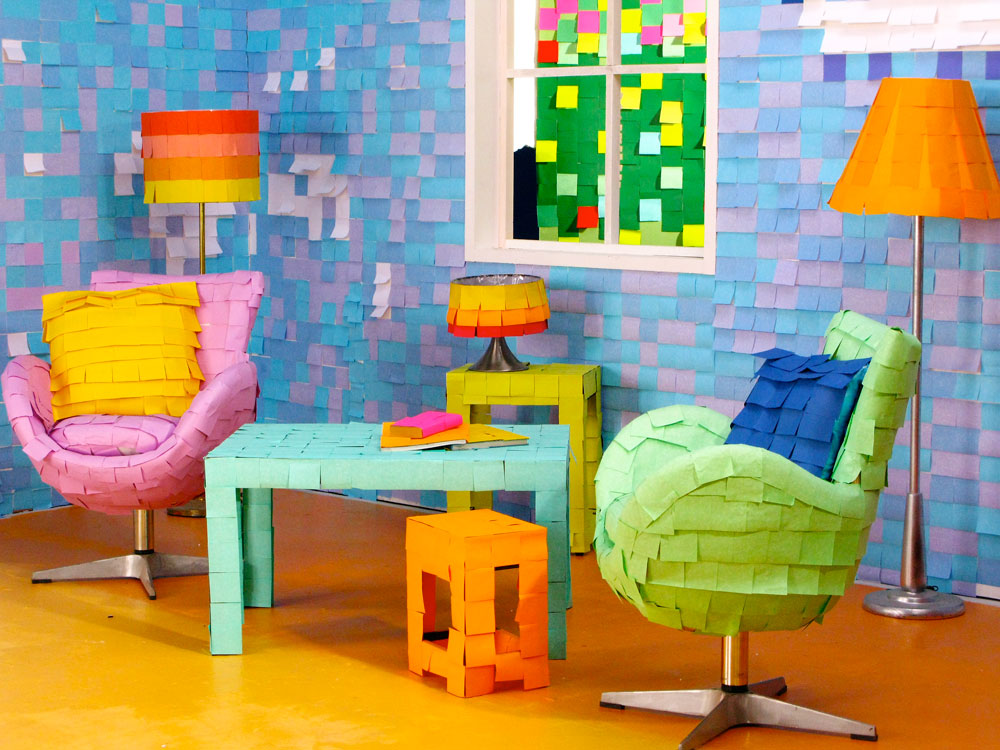 A set made entirely out of post-it notes