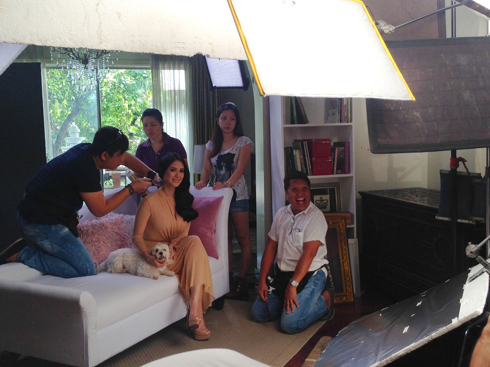 Heart Evangelista, her dog Casper, Vava and the rest of the hair team on set