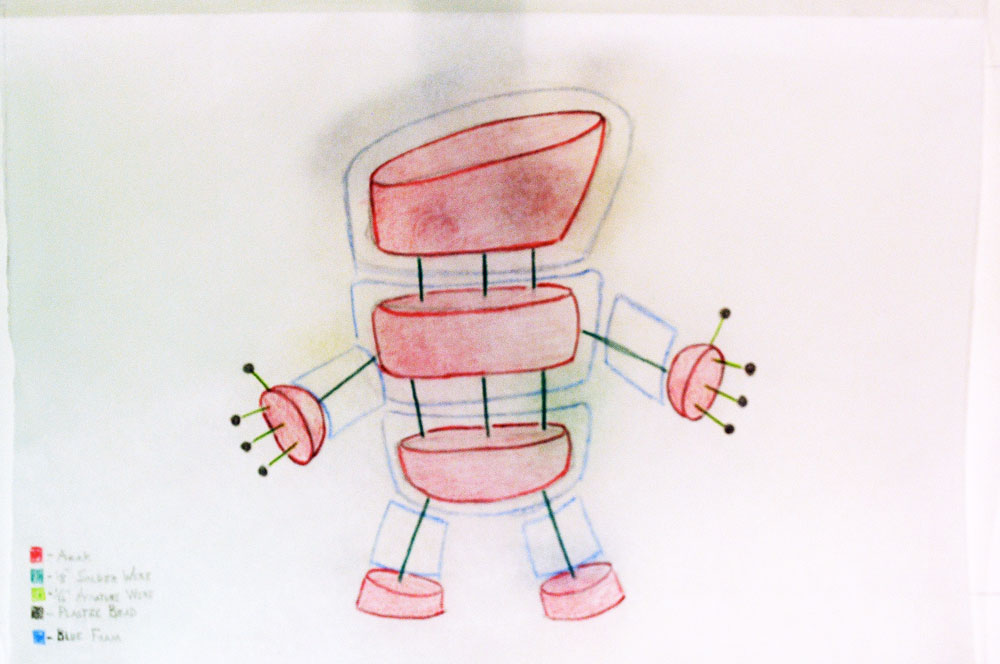 Interior sketch of the Pin Cushion character