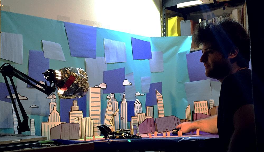 Jason animates the Batman Batboat Harbor episode, with Marie's skyline