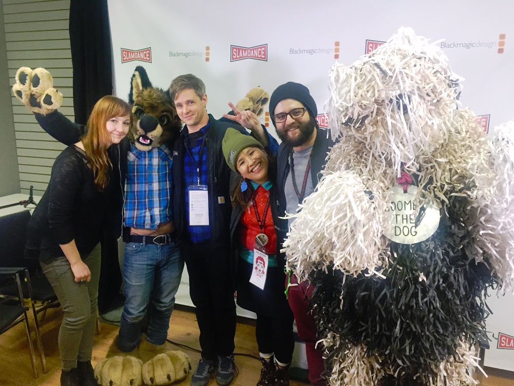 Slamdance TV meets the Fursonas team. Photo by Eseel Borlasa.