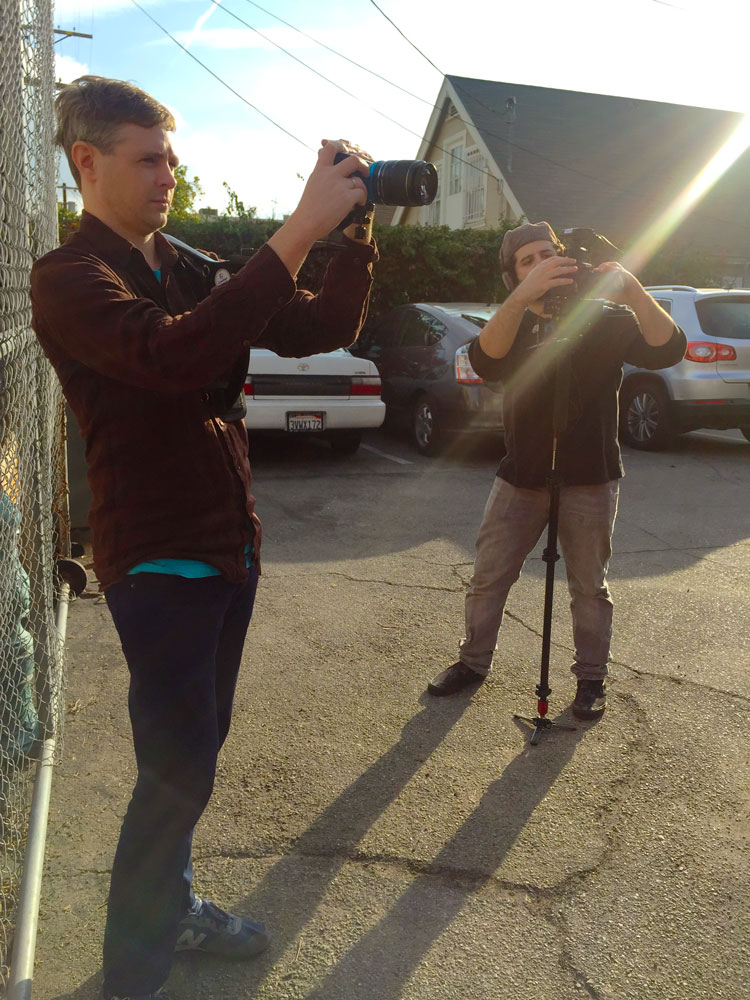 Chris and Jason shoot outside the Slamdance offices in LA
