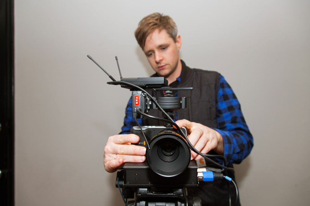 Christopher working with the Blackmagic Pocket Cinema Camera. Photo by Ian Stroud.