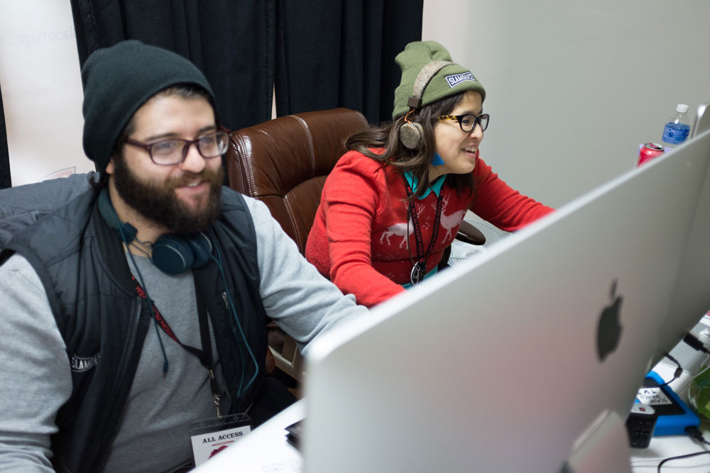 The Slamdance TV editing stations c/o Blackmagic. Photo by Ian Stroud.