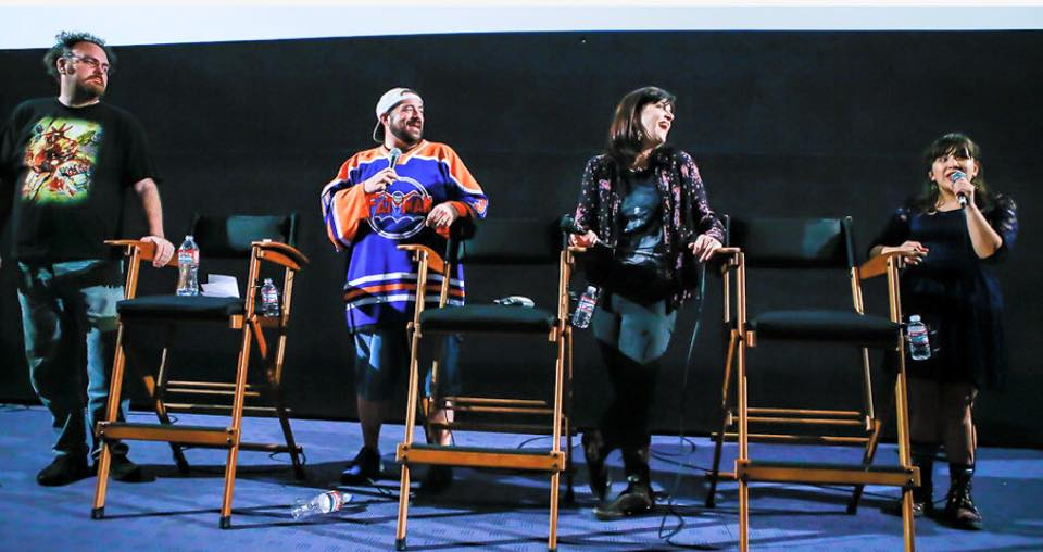Film Premiere panel at the Egyptian (L-R) Jon Schnepp, Kevin Smith, Holly Payne, Marie Jamora